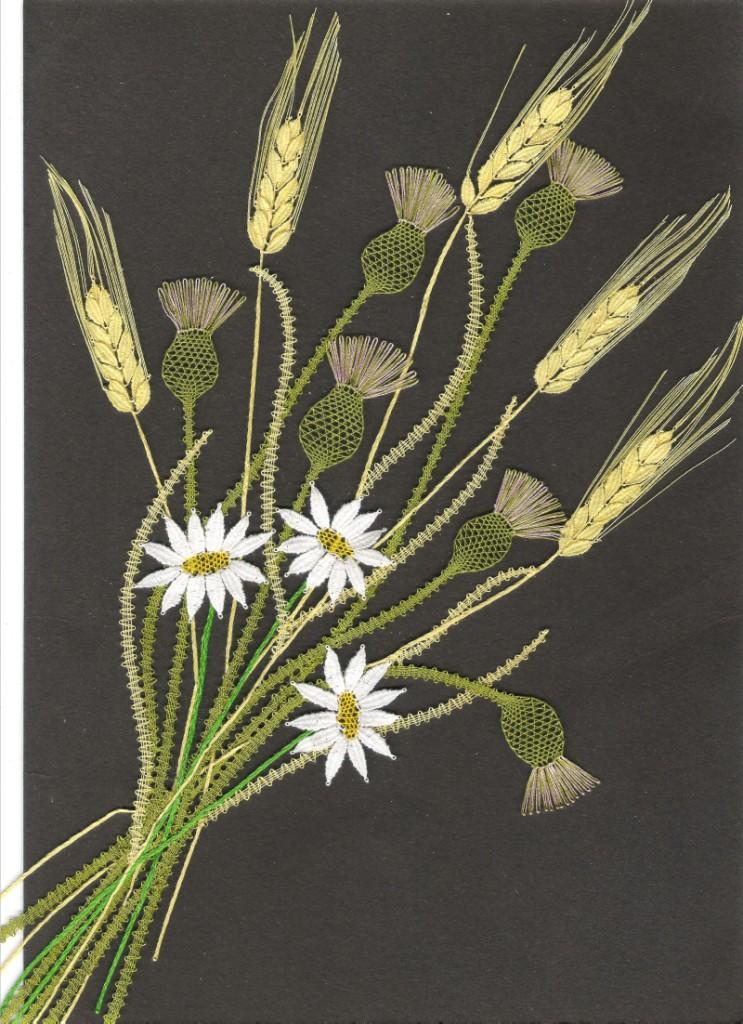 Kytice -  kopretiny, bodlák, ječmen (29 cm x  42 cm)